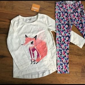 Gymboree set outfit NWT 4 4T girls fox leggings